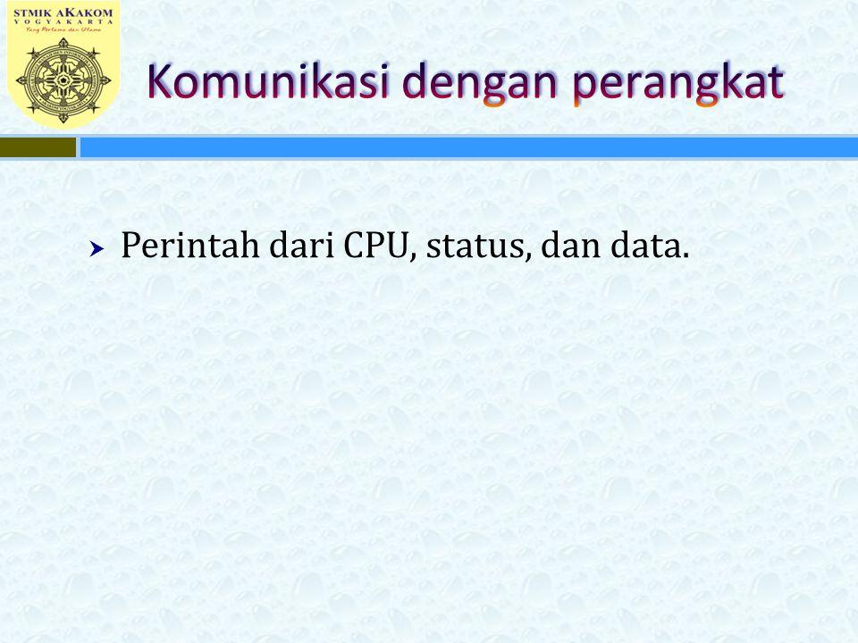  Perintah dari CPU, status, dan data.