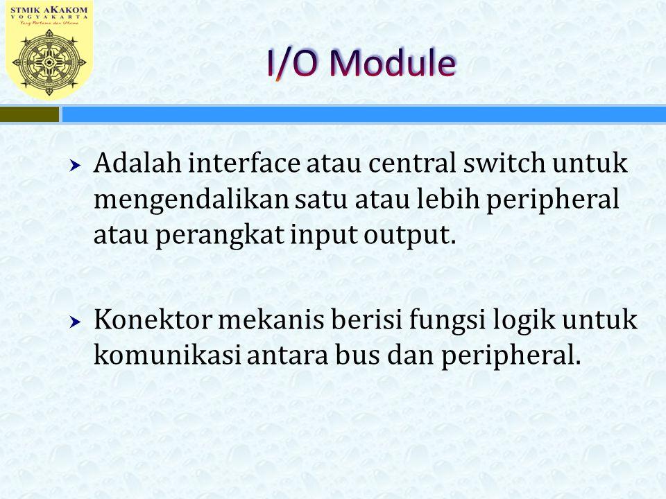  Adalah interface atau central switch untuk mengendalikan satu atau lebih peripheral atau perangkat input output.  Konektor mekanis berisi fungsi lo