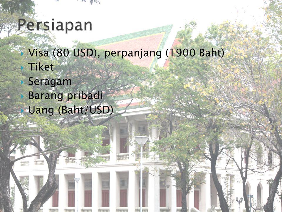  Visa (80 USD), perpanjang (1900 Baht)  Tiket  Seragam  Barang pribadi  Uang (Baht/USD)