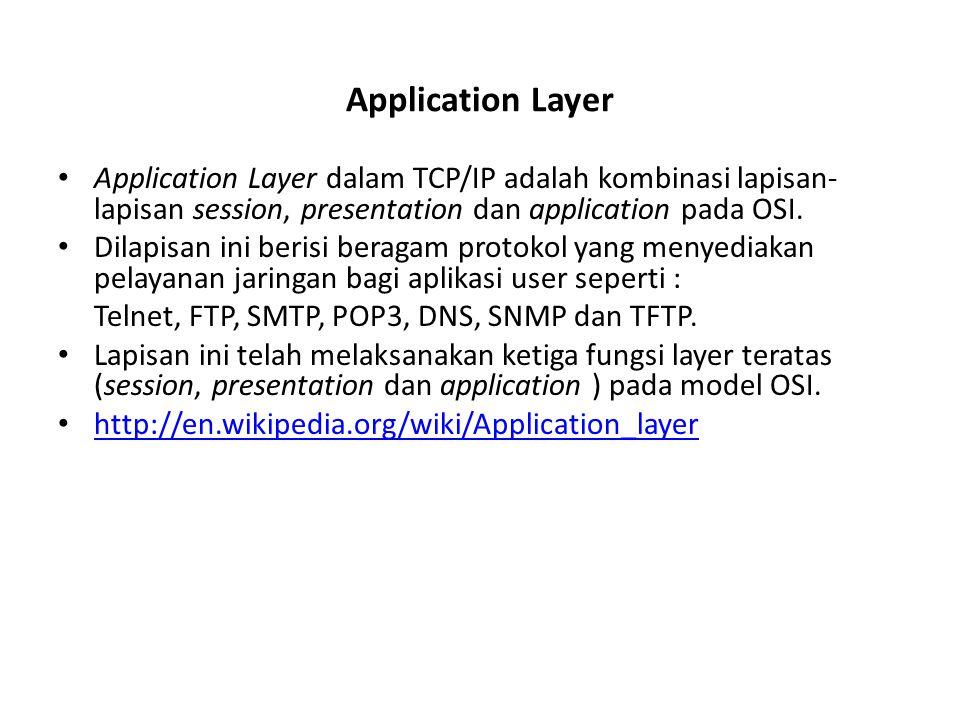 Transport Layer Lapisan transport berfungsi untuk mengirimkan data dari pengirim ke penerima.