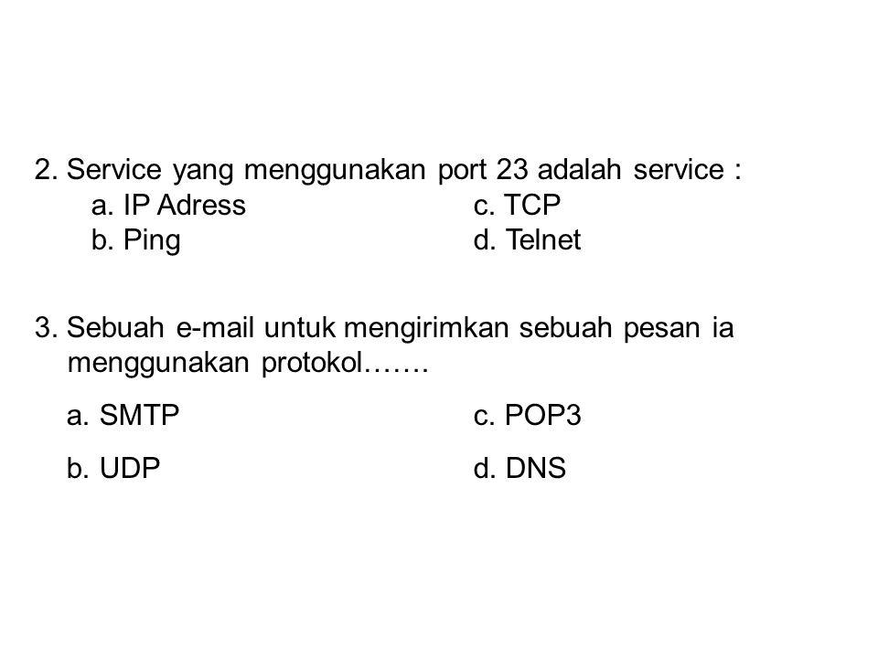 1.Identifikasi unik untuk pengalamatan pada jaringan adalah : a. IP Addressc. TCP b. Pingd. Telnet 2.Service yang menggunakan port 23 adalah service :