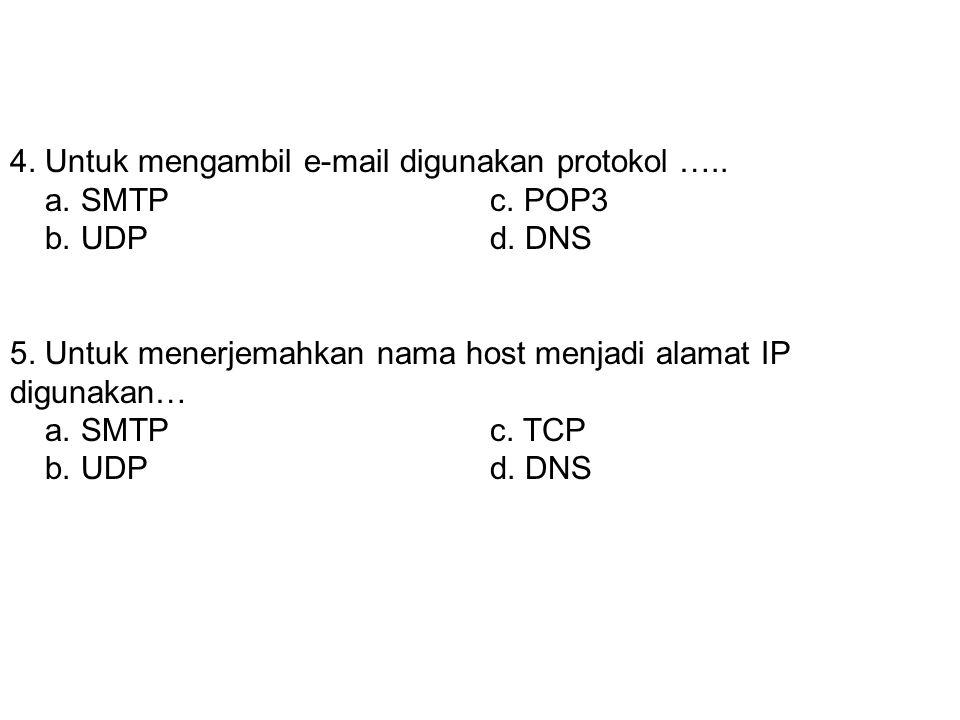 3. Sebuah e-mail untuk mengirimkan sebuah pesan ia menggunakan protokol……. a. SMTPc. POP3 b. UDPd. DNS 4. Untuk mengambil e-mail digunakan protokol…..