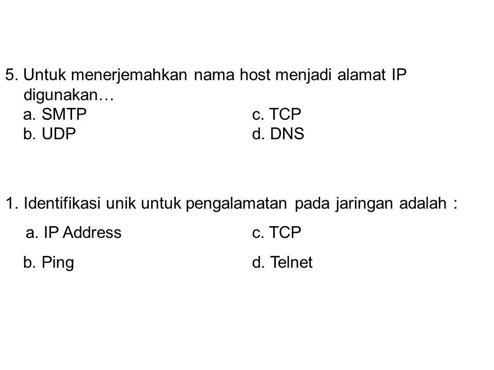 4. Untuk mengambil e-mail digunakan protokol ….. a. SMTPc. POP3 b. UDPd. DNS 5. Untuk menerjemahkan nama host menjadi alamat IP digunakan… a. SMTPc. T