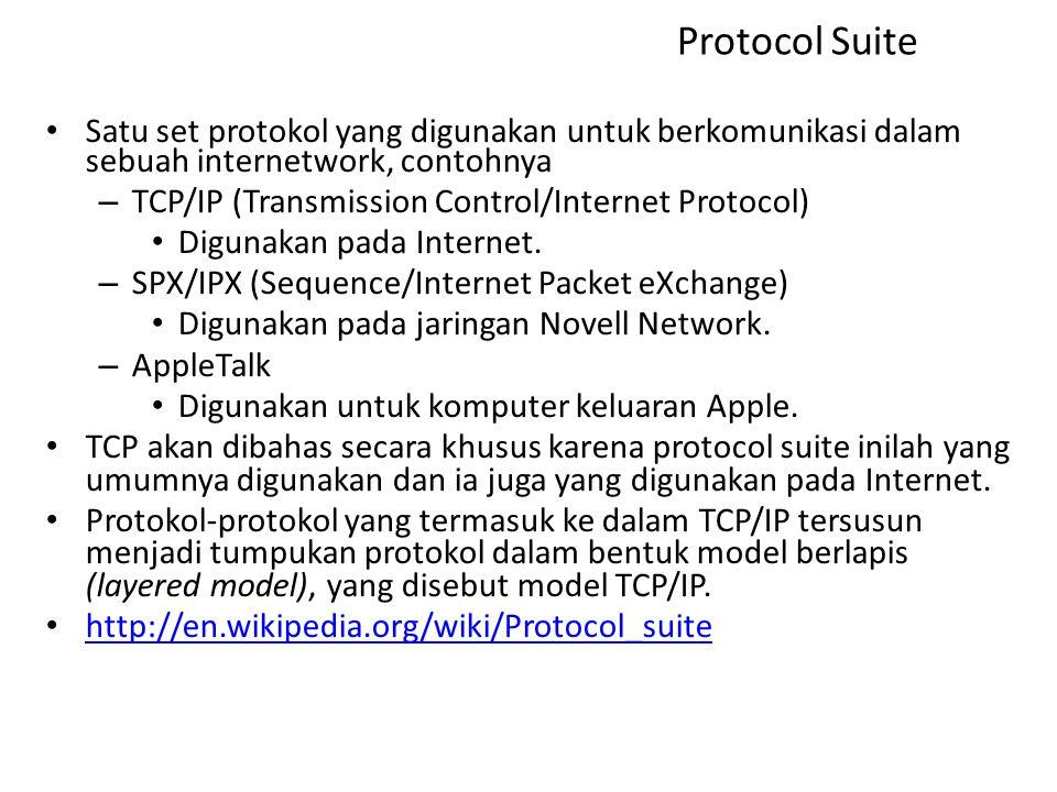 Protocol Suite Satu set protokol yang digunakan untuk berkomunikasi dalam sebuah internetwork, contohnya – TCP/IP (Transmission Control/Internet Protocol) Digunakan pada Internet.