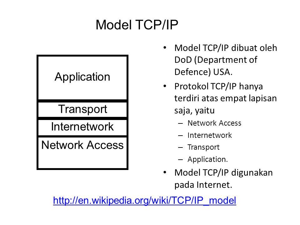 Model TCP/IP dibuat oleh DoD (Department of Defence) USA.