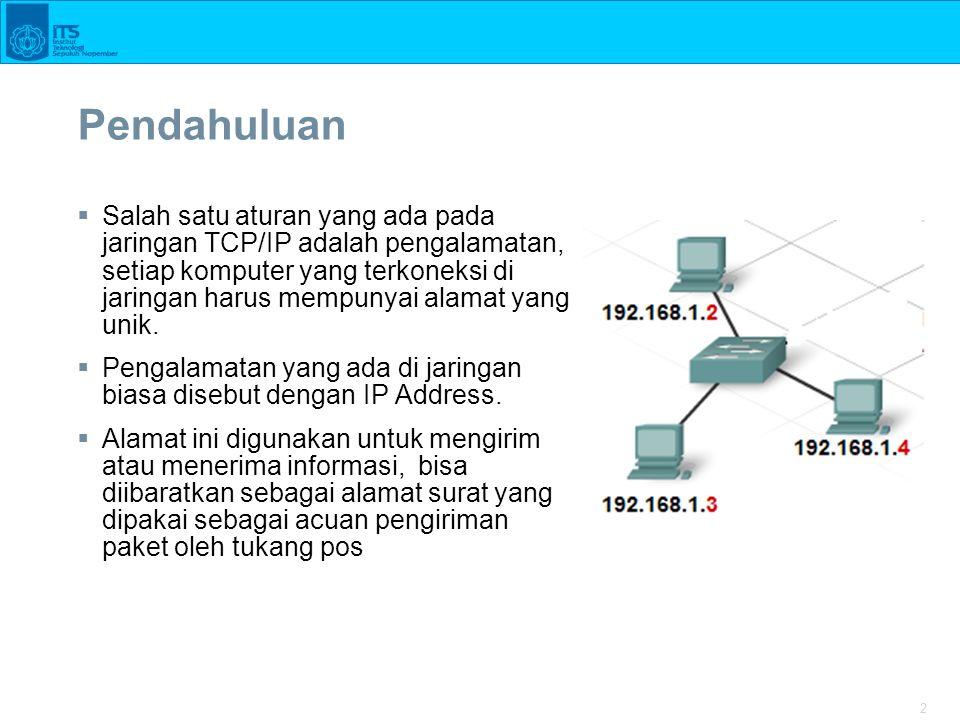 2 Pendahuluan  Salah satu aturan yang ada pada jaringan TCP/IP adalah pengalamatan, setiap komputer yang terkoneksi di jaringan harus mempunyai alamat yang unik.