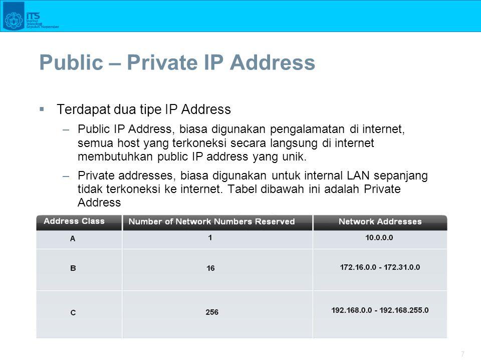 7 Public – Private IP Address  Terdapat dua tipe IP Address –Public IP Address, biasa digunakan pengalamatan di internet, semua host yang terkoneksi secara langsung di internet membutuhkan public IP address yang unik.