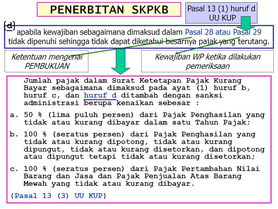 PENERBITAN SKPKB apabila kewajiban sebagaimana dimaksud dalam Pasal 28 atau Pasal 29 tidak dipenuhi sehingga tidak dapat diketahui besarnya pajak yang