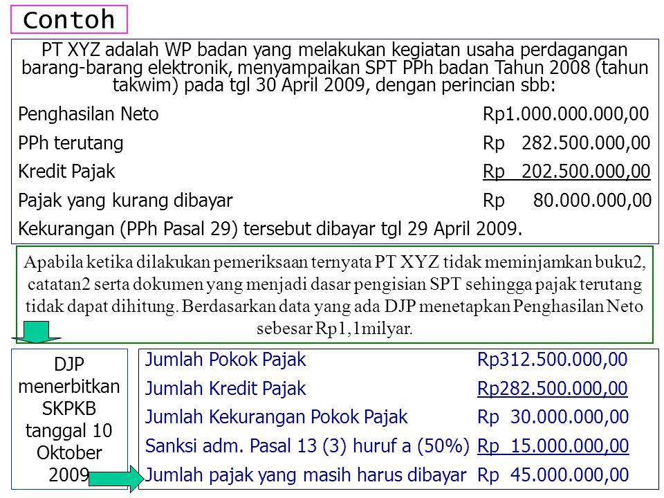 Contoh PT XYZ adalah WP badan yang melakukan kegiatan usaha perdagangan barang-barang elektronik, menyampaikan SPT PPh badan Tahun 2008 (tahun takwim)