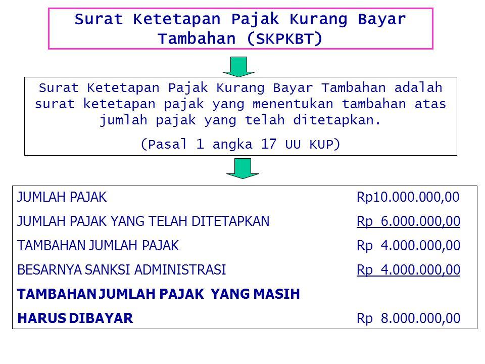 Surat Ketetapan Pajak Kurang Bayar Tambahan (SKPKBT) Surat Ketetapan Pajak Kurang Bayar Tambahan adalah surat ketetapan pajak yang menentukan tambahan