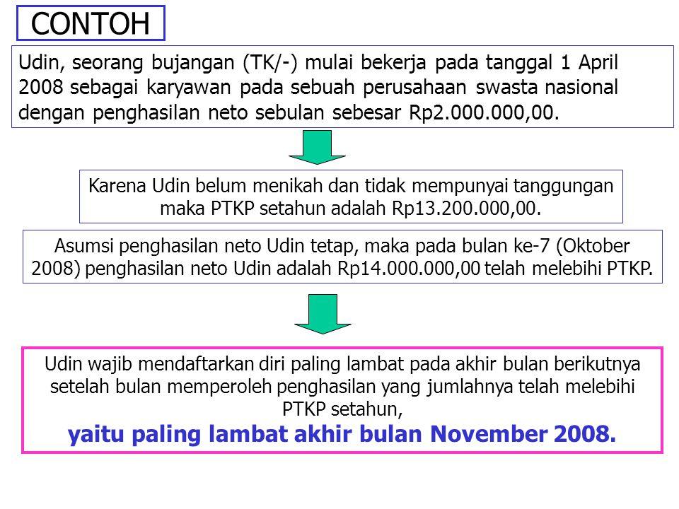 CONTOH Udin, seorang bujangan (TK/-) mulai bekerja pada tanggal 1 April 2008 sebagai karyawan pada sebuah perusahaan swasta nasional dengan penghasila