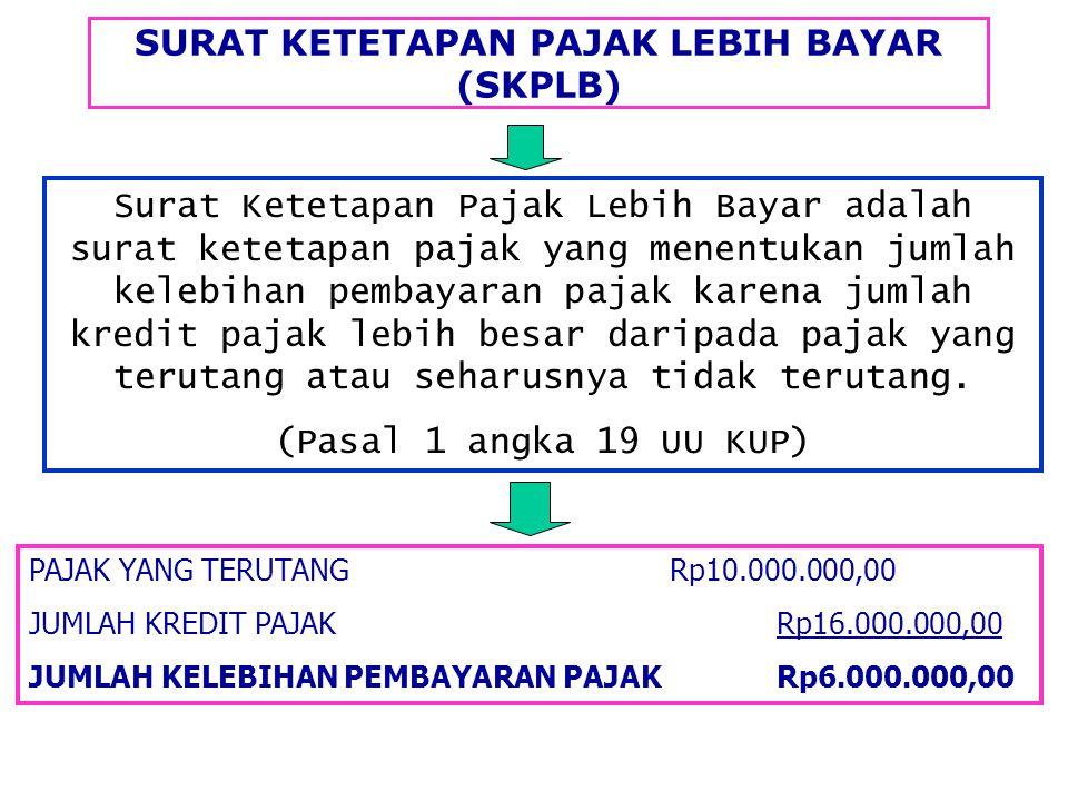 SURAT KETETAPAN PAJAK LEBIH BAYAR (SKPLB) PAJAK YANG TERUTANGRp10.000.000,00 JUMLAH KREDIT PAJAKRp16.000.000,00 JUMLAH KELEBIHAN PEMBAYARAN PAJAKRp6.0