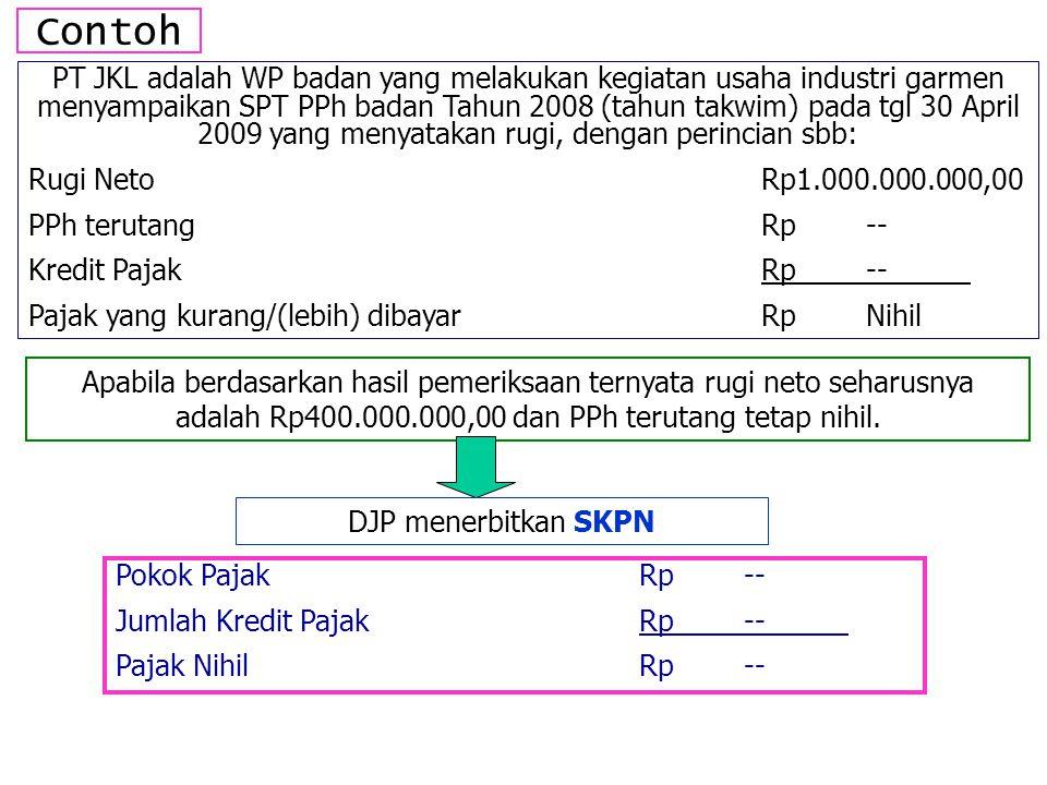 Contoh PT JKL adalah WP badan yang melakukan kegiatan usaha industri garmen menyampaikan SPT PPh badan Tahun 2008 (tahun takwim) pada tgl 30 April 200