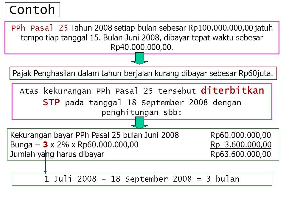Contoh PPh Pasal 25 Tahun 2008 setiap bulan sebesar Rp100.000.000,00 jatuh tempo tiap tanggal 15. Bulan Juni 2008, dibayar tepat waktu sebesar Rp40.00