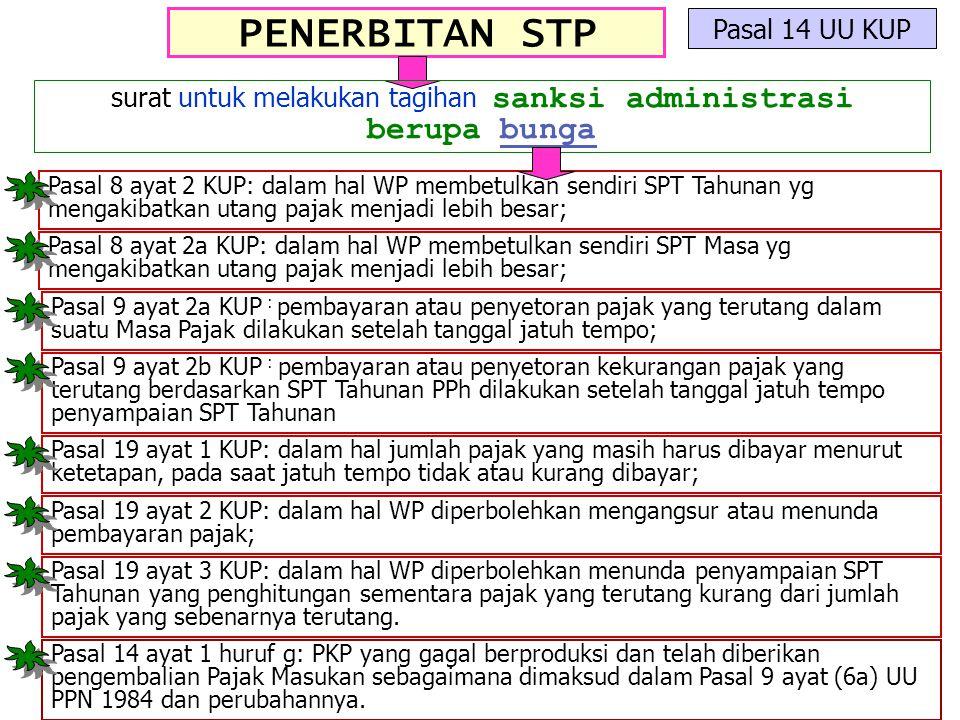 PENERBITAN STP Pasal 14 UU KUP surat untuk melakukan tagihan sanksi administrasi berupa bunga Pasal 8 ayat 2 KUP: dalam hal WP membetulkan sendiri SPT