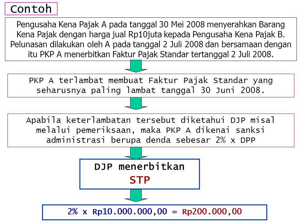 Contoh Pengusaha Kena Pajak A pada tanggal 30 Mei 2008 menyerahkan Barang Kena Pajak dengan harga jual Rp10juta kepada Pengusaha Kena Pajak B. Pelunas