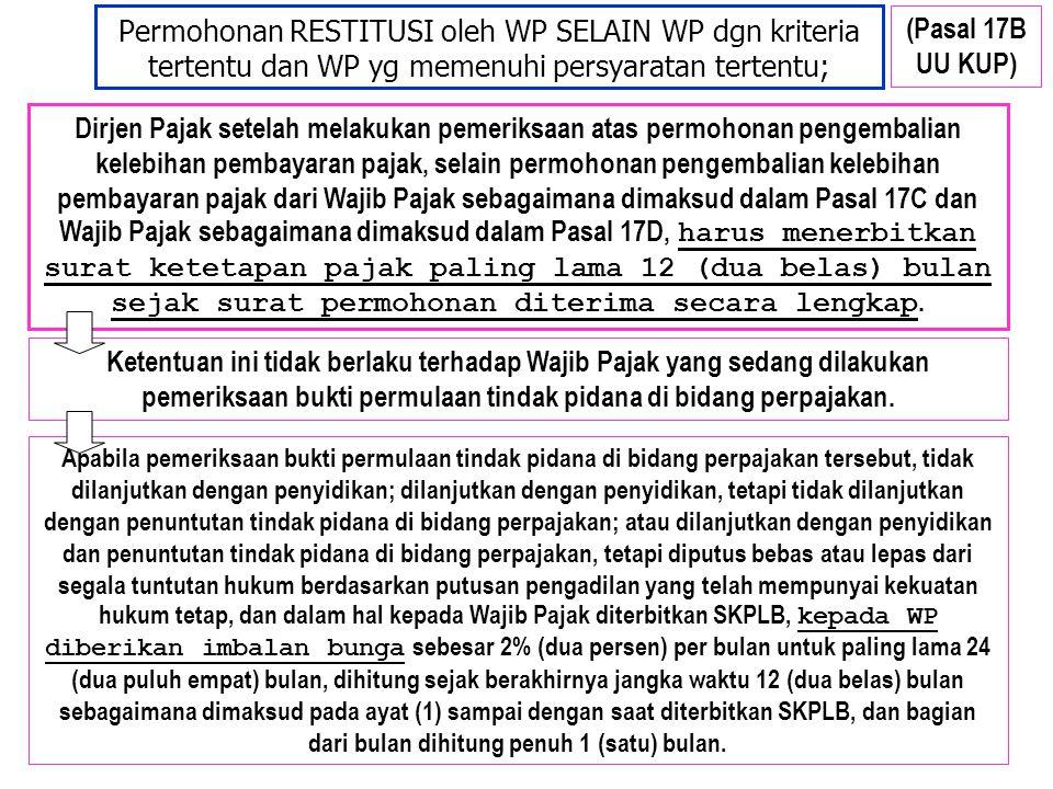 Permohonan RESTITUSI oleh WP SELAIN WP dgn kriteria tertentu dan WP yg memenuhi persyaratan tertentu; Dirjen Pajak setelah melakukan pemeriksaan atas