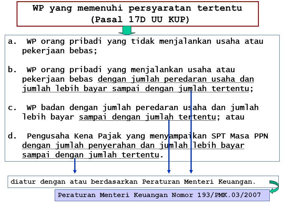 WP yang memenuhi persyaratan tertentu (Pasal 17D UU KUP) a. WP orang pribadi yang tidak menjalankan usaha atau pekerjaan bebas; b. WP orang pribadi ya