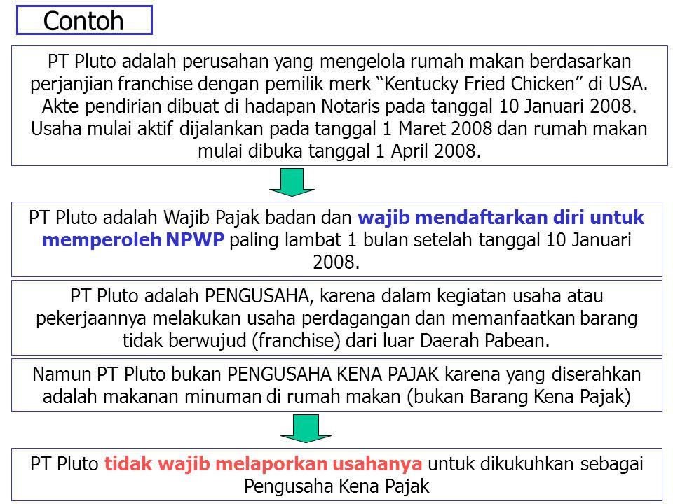 """Contoh PT Pluto adalah perusahan yang mengelola rumah makan berdasarkan perjanjian franchise dengan pemilik merk """"Kentucky Fried Chicken"""" di USA. Akte"""