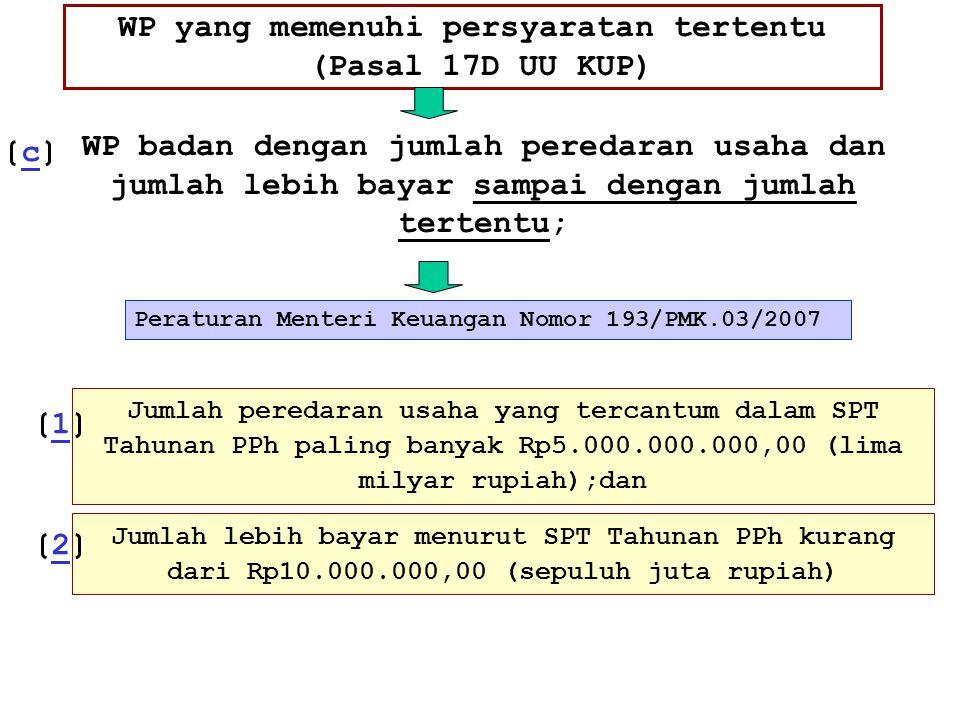 WP yang memenuhi persyaratan tertentu (Pasal 17D UU KUP) Peraturan Menteri Keuangan Nomor 193/PMK.03/2007 WP badan dengan jumlah peredaran usaha dan j