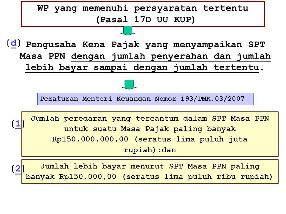 WP yang memenuhi persyaratan tertentu (Pasal 17D UU KUP) Peraturan Menteri Keuangan Nomor 193/PMK.03/2007 Pengusaha Kena Pajak yang menyampaikan SPT M