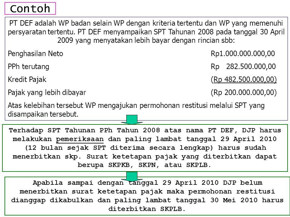 Contoh PT DEF adalah WP badan selain WP dengan kriteria tertentu dan WP yang memenuhi persyaratan tertentu. PT DEF menyampaikan SPT Tahunan 2008 pada
