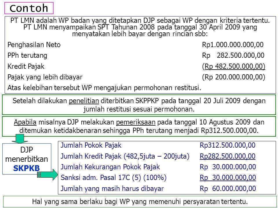 Contoh PT LMN adalah WP badan yang ditetapkan DJP sebagai WP dengan kriteria tertentu. PT LMN menyampaikan SPT Tahunan 2008 pada tanggal 30 April 2009