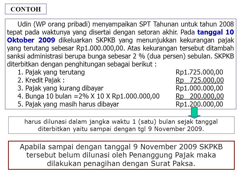 CONTOH Udin (WP orang pribadi) menyampaikan SPT Tahunan untuk tahun 2008 tepat pada waktunya yang disertai dengan setoran akhir. Pada tanggal 10 Oktob