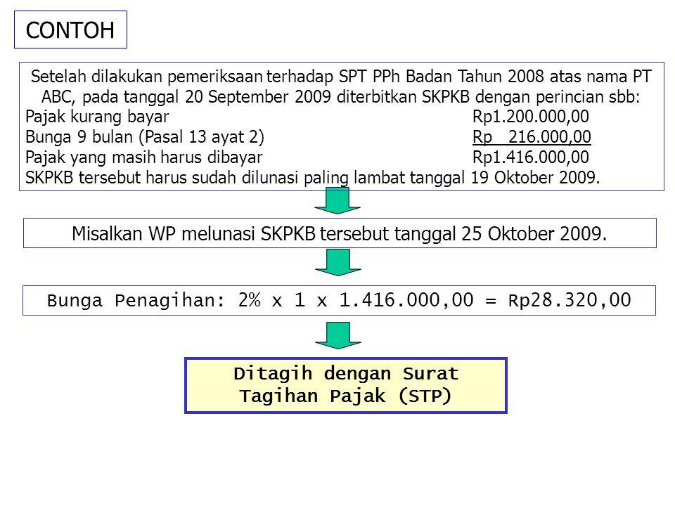 CONTOH Misalkan WP melunasi SKPKB tersebut tanggal 25 Oktober 2009. Setelah dilakukan pemeriksaan terhadap SPT PPh Badan Tahun 2008 atas nama PT ABC,