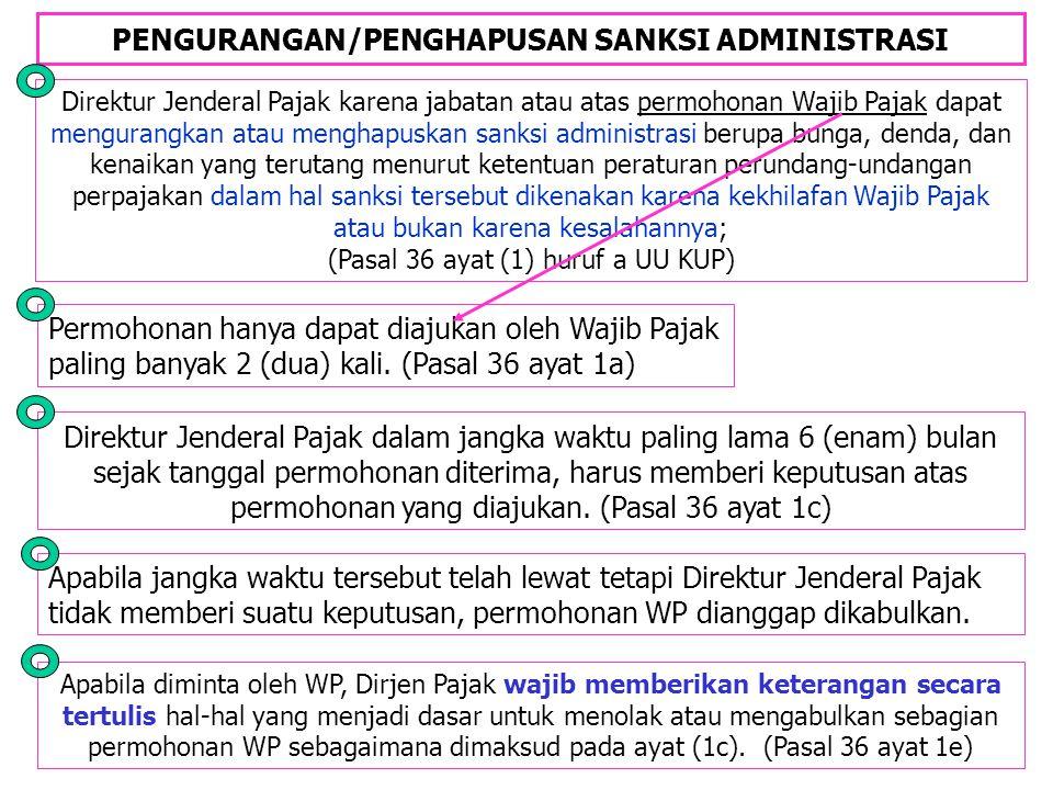 PENGURANGAN/PENGHAPUSAN SANKSI ADMINISTRASI Direktur Jenderal Pajak karena jabatan atau atas permohonan Wajib Pajak dapat mengurangkan atau menghapusk