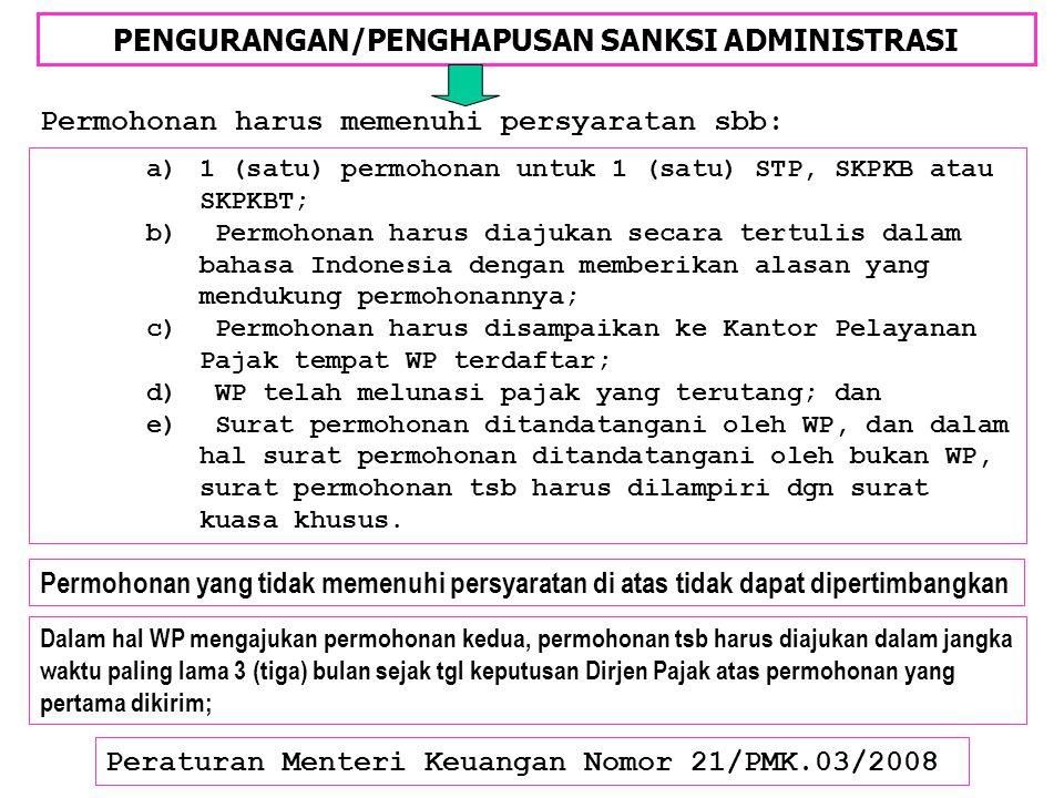 PENGURANGAN/PENGHAPUSAN SANKSI ADMINISTRASI Peraturan Menteri Keuangan Nomor 21/PMK.03/2008 Permohonan harus memenuhi persyaratan sbb: Permohonan yang