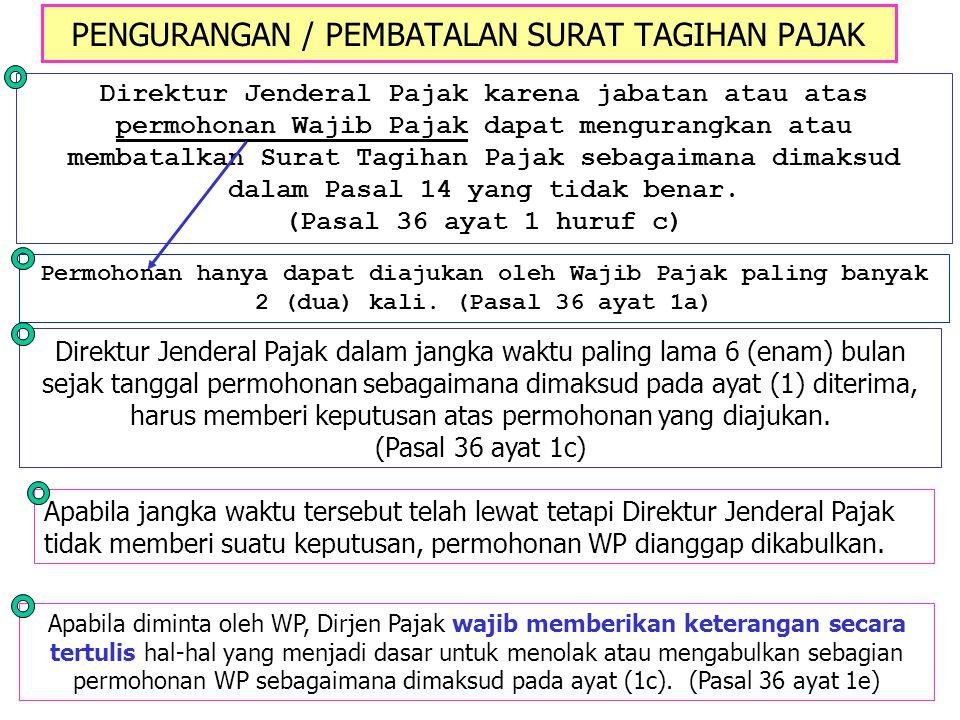 PENGURANGAN / PEMBATALAN SURAT TAGIHAN PAJAK Direktur Jenderal Pajak karena jabatan atau atas permohonan Wajib Pajak dapat mengurangkan atau membatalk