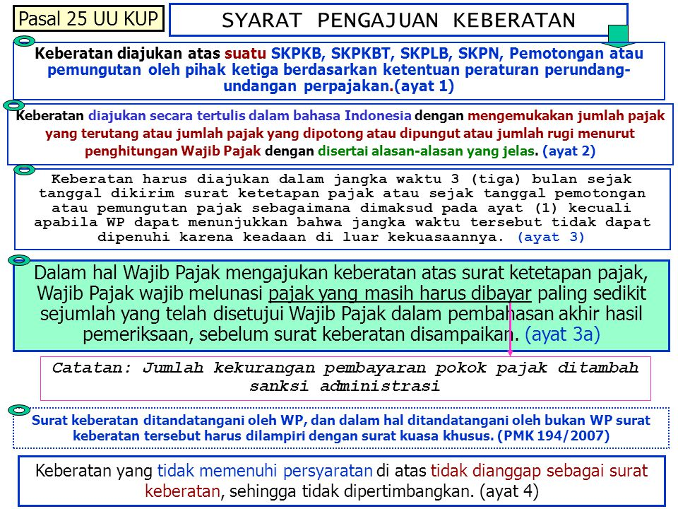 SYARAT PENGAJUAN KEBERATAN Keberatan diajukan secara tertulis dalam bahasa Indonesia dengan mengemukakan jumlah pajak yang terutang atau jumlah pajak