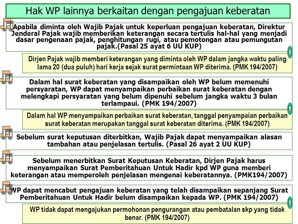 Hak WP lainnya berkaitan dengan pengajuan keberatan Apabila diminta oleh Wajib Pajak untuk keperluan pengajuan keberatan, Direktur Jenderal Pajak waji