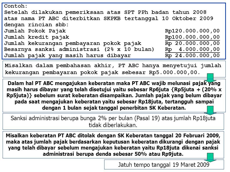 Contoh: Setelah dilakukan pemeriksaan atas SPT PPh badan tahun 2008 atas nama PT ABC diterbitkan SKPKB tertanggal 10 Oktober 2009 dengan rincian sbb: