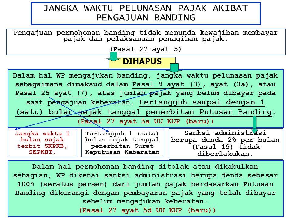 JANGKA WAKTU PELUNASAN PAJAK AKIBAT PENGAJUAN BANDING Pengajuan permohonan banding tidak menunda kewajiban membayar pajak dan pelaksanaan penagihan pa