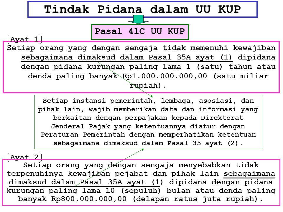 Tindak Pidana dalam UU KUP Setiap orang yang dengan sengaja tidak memenuhi kewajiban sebagaimana dimaksud dalam Pasal 35A ayat (1) dipidana dengan pid