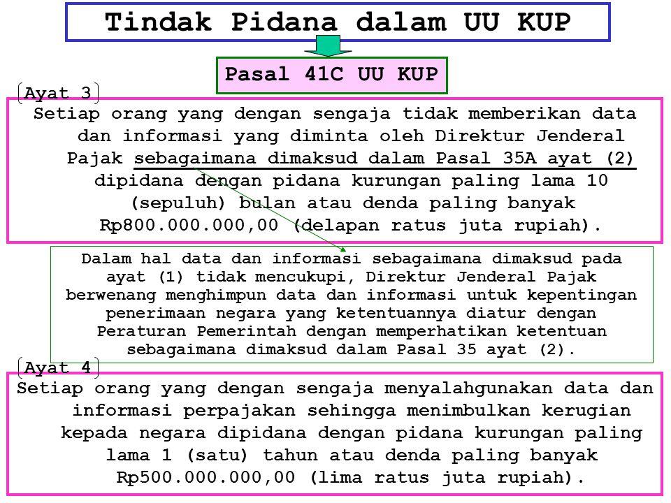 Tindak Pidana dalam UU KUP Setiap orang yang dengan sengaja tidak memberikan data dan informasi yang diminta oleh Direktur Jenderal Pajak sebagaimana