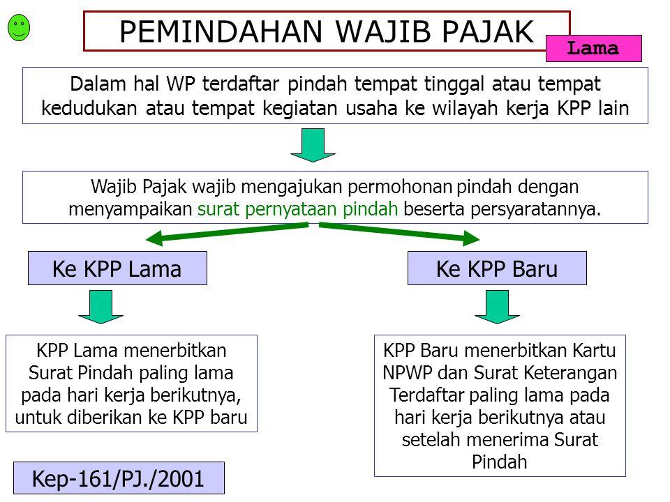 PEMINDAHAN WAJIB PAJAK Dalam hal WP terdaftar pindah tempat tinggal atau tempat kedudukan atau tempat kegiatan usaha ke wilayah kerja KPP lain Wajib P