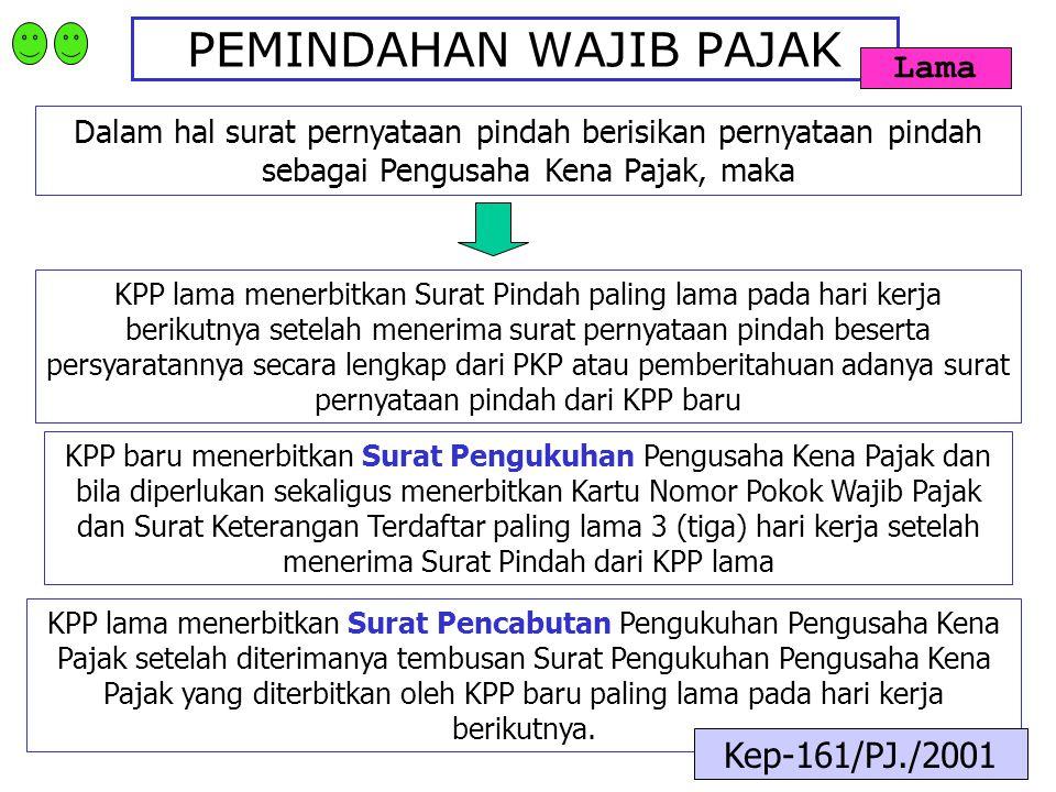 PEMINDAHAN WAJIB PAJAK Dalam hal surat pernyataan pindah berisikan pernyataan pindah sebagai Pengusaha Kena Pajak, maka KPP lama menerbitkan Surat Pin