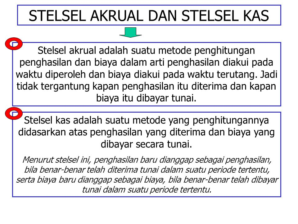 STELSEL AKRUAL DAN STELSEL KAS Stelsel akrual adalah suatu metode penghitungan penghasilan dan biaya dalam arti penghasilan diakui pada waktu diperole