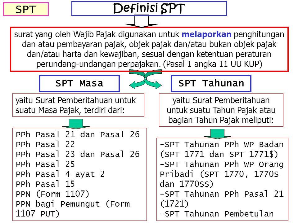SPT SPT MasaSPT Tahunan yaitu Surat Pemberitahuan untuk suatu Masa Pajak, terdiri dari: PPh Pasal 21 dan Pasal 26 PPh Pasal 22 PPh Pasal 23 dan Pasal