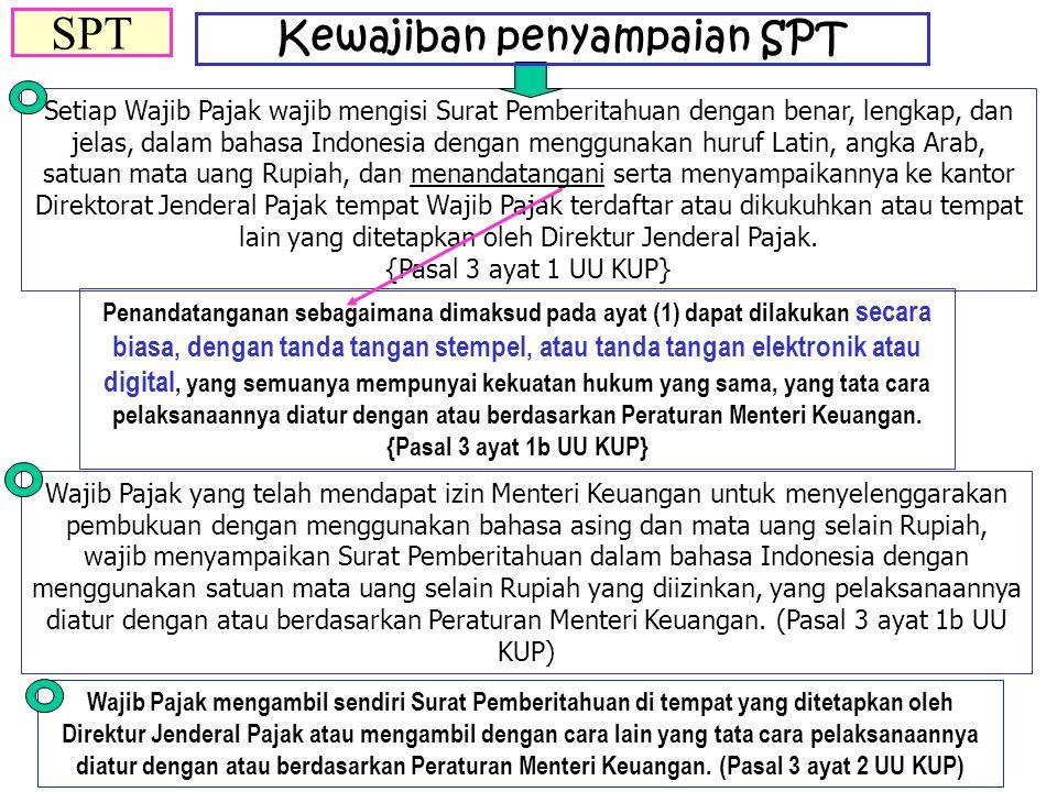 Setiap Wajib Pajak wajib mengisi Surat Pemberitahuan dengan benar, lengkap, dan jelas, dalam bahasa Indonesia dengan menggunakan huruf Latin, angka Ar