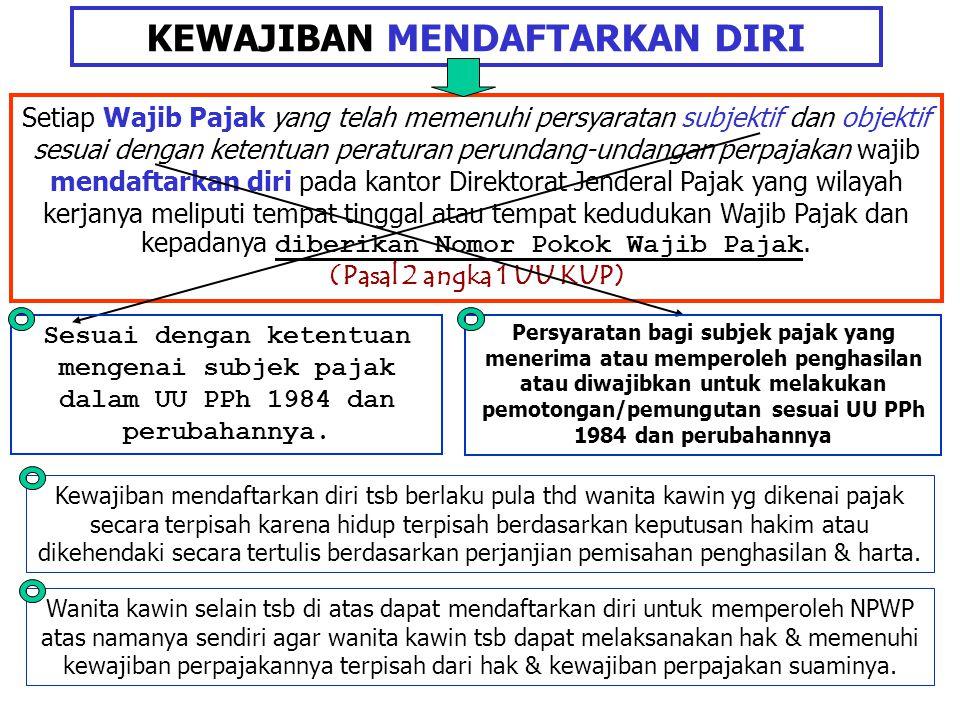 KEWAJIBAN MENDAFTARKAN DIRI Setiap Wajib Pajak yang telah memenuhi persyaratan subjektif dan objektif sesuai dengan ketentuan peraturan perundang-unda