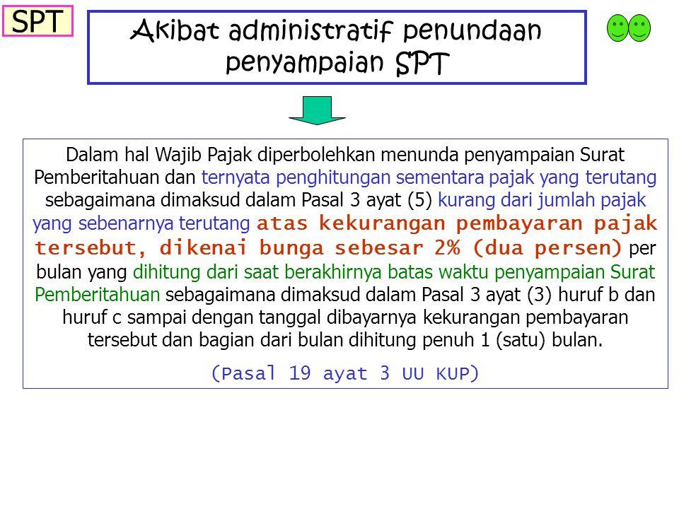 Akibat administratif penundaan penyampaian SPT Dalam hal Wajib Pajak diperbolehkan menunda penyampaian Surat Pemberitahuan dan ternyata penghitungan s