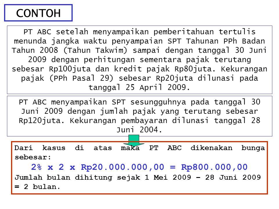 CONTOH PT ABC setelah menyampaikan pemberitahuan tertulis menunda jangka waktu penyampaian SPT Tahunan PPh Badan Tahun 2008 (Tahun Takwim) sampai deng