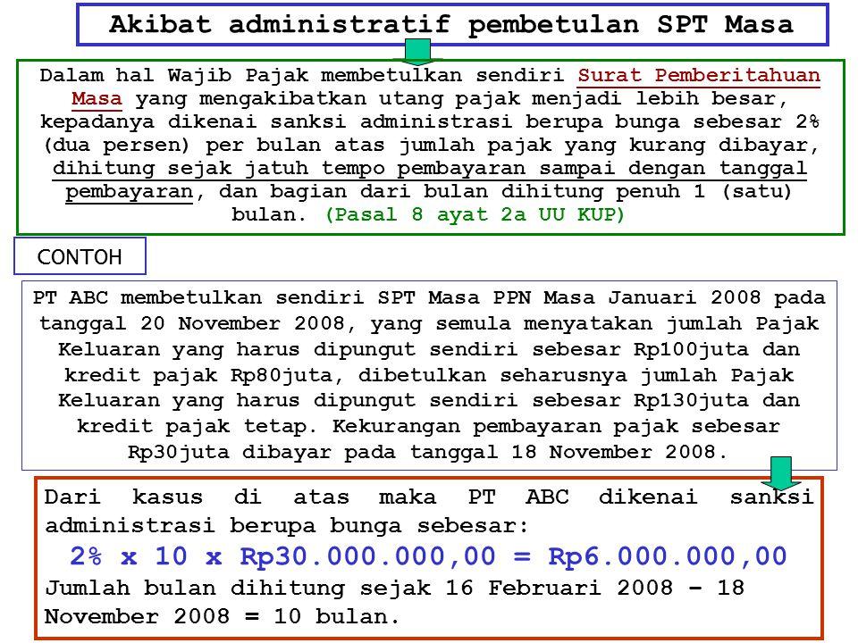 Akibat administratif pembetulan SPT Masa Dalam hal Wajib Pajak membetulkan sendiri Surat Pemberitahuan Masa yang mengakibatkan utang pajak menjadi leb