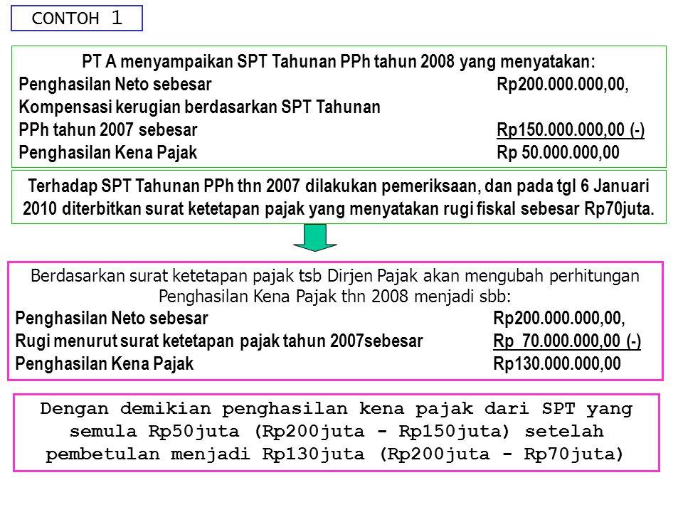CONTOH 1 PT A menyampaikan SPT Tahunan PPh tahun 2008 yang menyatakan: Penghasilan Neto sebesar Rp200.000.000,00, Kompensasi kerugian berdasarkan SPT