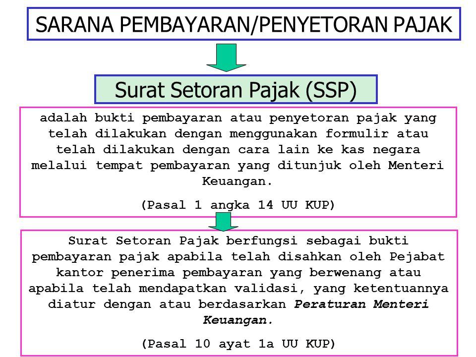 SARANA PEMBAYARAN/PENYETORAN PAJAK Surat Setoran Pajak (SSP) adalah bukti pembayaran atau penyetoran pajak yang telah dilakukan dengan menggunakan for