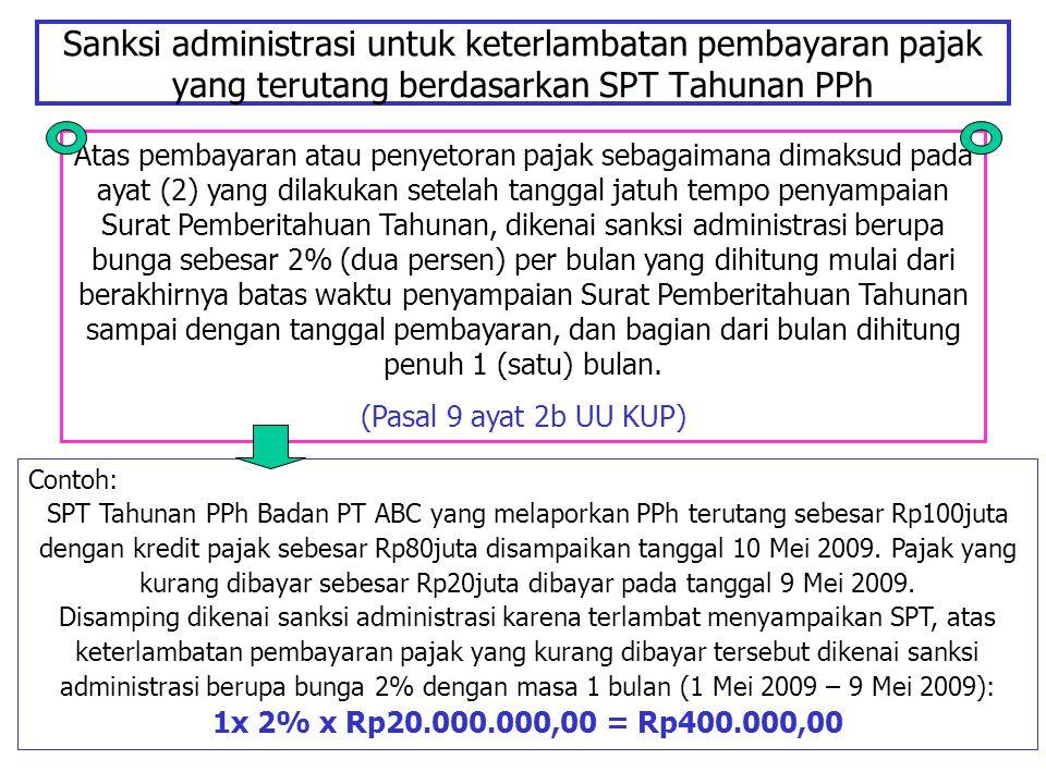 Sanksi administrasi untuk keterlambatan pembayaran pajak yang terutang berdasarkan SPT Tahunan PPh Atas pembayaran atau penyetoran pajak sebagaimana d
